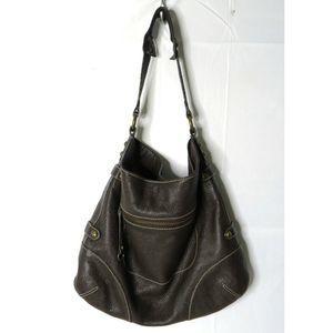 J. Crew Brown Pebbled Leather Shoulder Bag